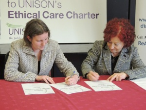 signing Ethical Care Charter