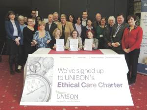 UNISON ethical care charter signing