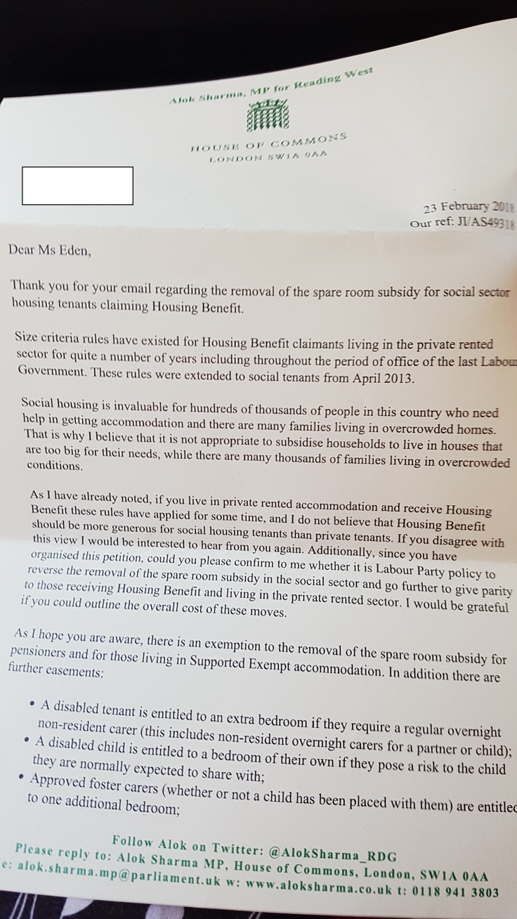 A cursory and late response to our bedroom tax campaign – Rachel Eden